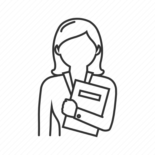 business, business woman, businesswoman, news woman, woman, woman holding paper, working woman icon