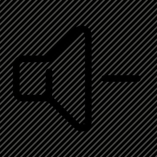 Down, minus, negative, sound, speaker, volume icon - Download on Iconfinder
