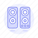 1, 2, audio, channel, computer, desktop, pc, speakers, stereo icon