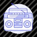 antenna, audio, boombox, cassette, ghettoblaster, jambox, player, radio, recorder, speaker, stereo