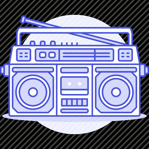 antenna, audio, boombox, cassette, ghettoblaster, jambox, player, radio, recorder, speaker, stero icon