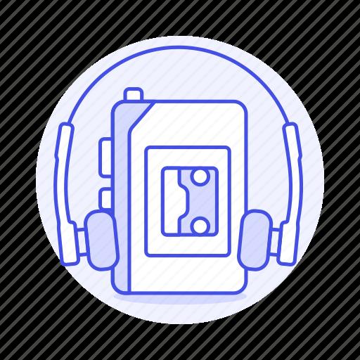 1, audio, cassette, ear, headphones, music, on, player, players, portable, recorder, retro, tape, walkman icon
