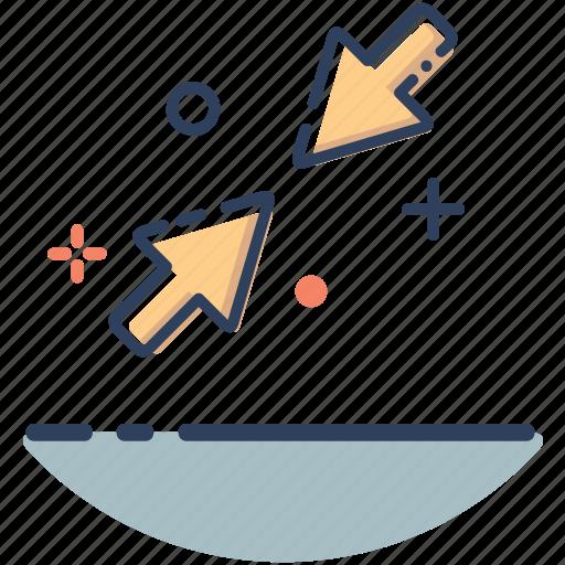 application, arrow, direction, line filled, maximize, minimize, minimize icon icon