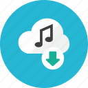 cloud, download, music icon