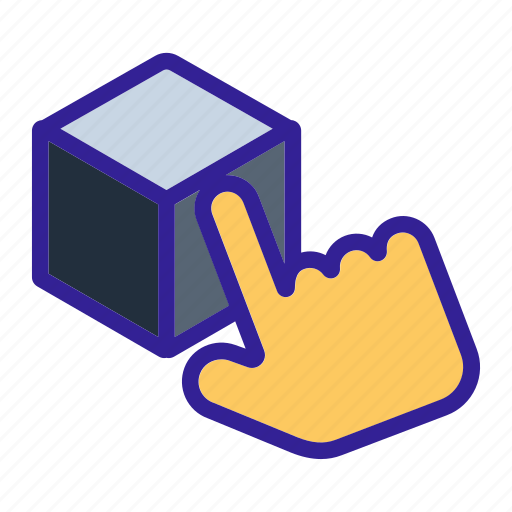 box, cube, hand, package, touch icon
