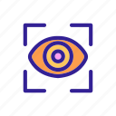 biometry, eye, frame, scanner, view icon