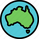 australia, global, globe, map icon