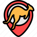 australia, kangaroo, pin, placeholder icon