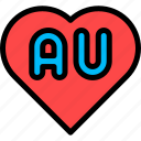 au, australia, heart, love icon