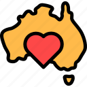 australia, love, map, maps icon