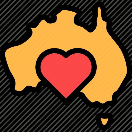 australia, love, map, maps icon