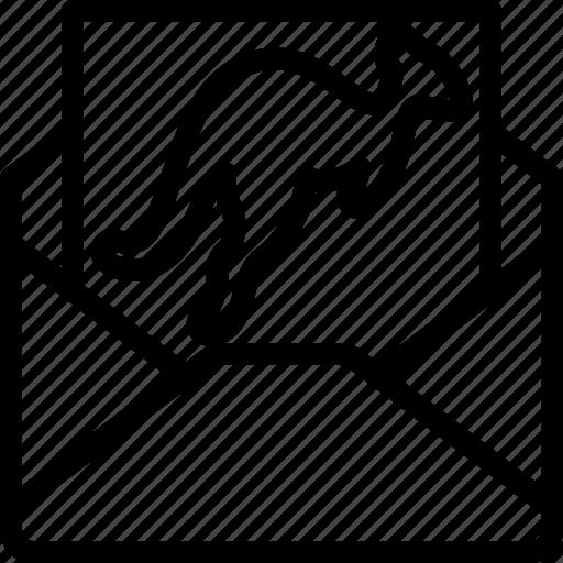 australia, envelope, kangaroo, letter icon