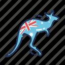 kangaroo, australia, flag