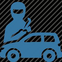 auto insurance, car insurance, thief, vandalism icon