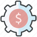 cost cut, dollar, finance, price, product cost, reduce cost, setting icon