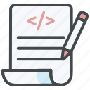 choose, coding, edit, requirement, test case, testing icon