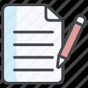 content, document, edit, requirement, script development, write icon
