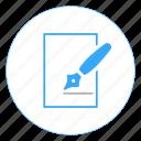 doc, document, draw, illustrator, pen, write, writer icon