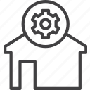 cogwheel, home, house, settings icon