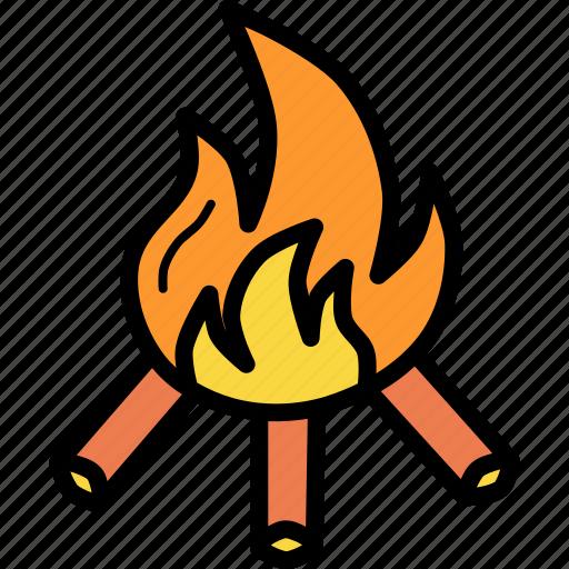 autumn, bonfire, campfire, camping, fall, fire, warm icon