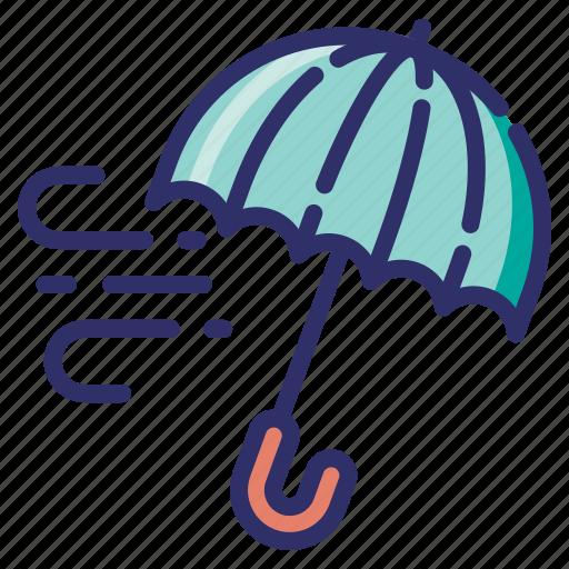 autumn, fall, freezing, season, umbrella, weather, wind icon
