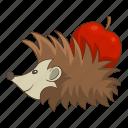 animal, apple, forest, hedgehog icon