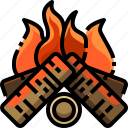 bonfire, campfire, camping, firewood, flame icon