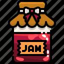 breakfast, food, jam, jar, strawberry