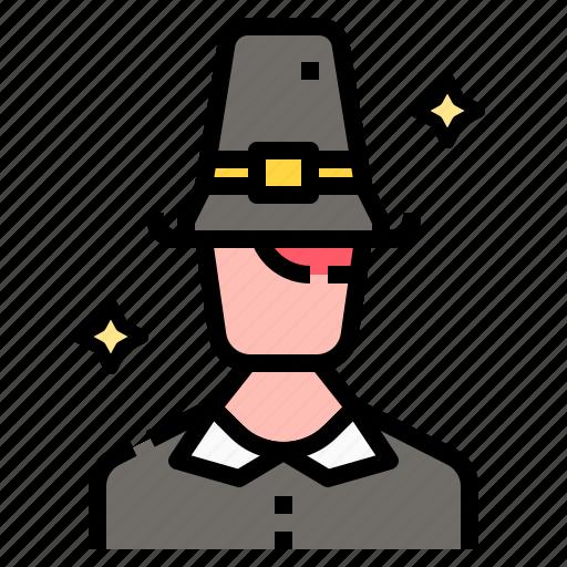 Costume, fashion, hat, man, pilgrim, thanksgiving icon