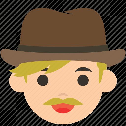 avatar, character, cowboy, gunman, man, profile, user icon