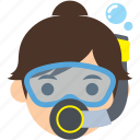 avatar, character, diver, profile, scuba, user, woman icon