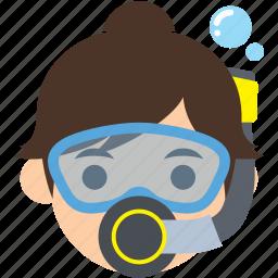 avatar, character, diver, profile, scuba, user, woman icon