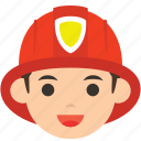 avatar, character, firefighter, fireman, man, profile, user icon