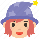 avatar, character, magician, profile, user, wizard, woman icon