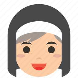 avatar, character, face, nun, profile, user, woman icon
