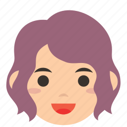 avatar, character, face, profile, tresses, user, woman icon