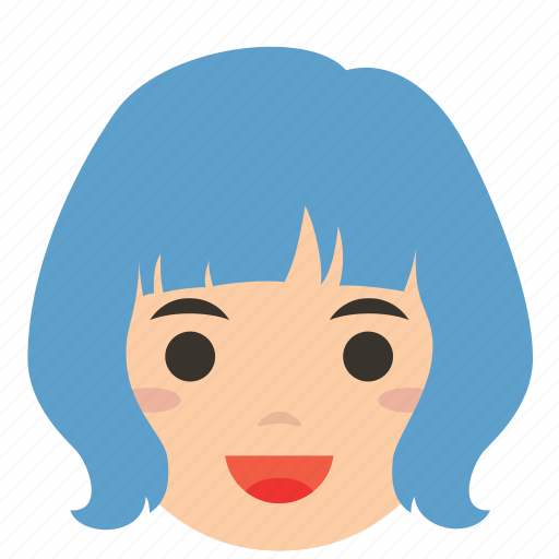 avatar, bobbed hair, character, face, profile, user, woman icon