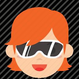 avatar, character, face, profile, sunglasses, user, woman icon
