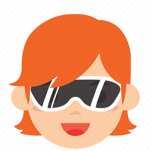 avatar, character, face, profile, sunglasses, user, woman icon