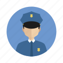 avatar, boy, man, police officer icon