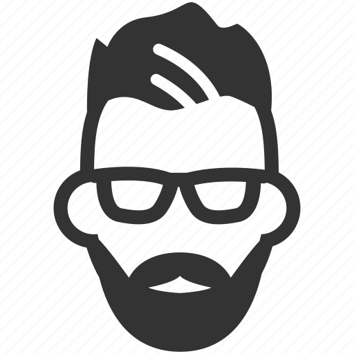 avatar, beard, glasses, hipster, male, man, person icon