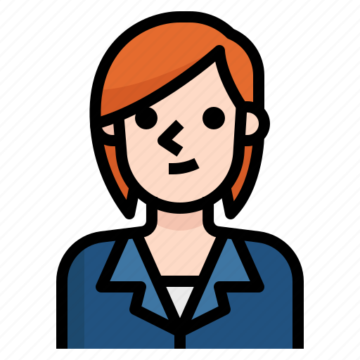 avatar, business, girl, hair, red, short, woman icon