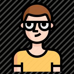 avatar, boy, glasses, guy, shaved, skinhead icon