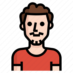 avatar, beard, curly, guy, handsome, man icon
