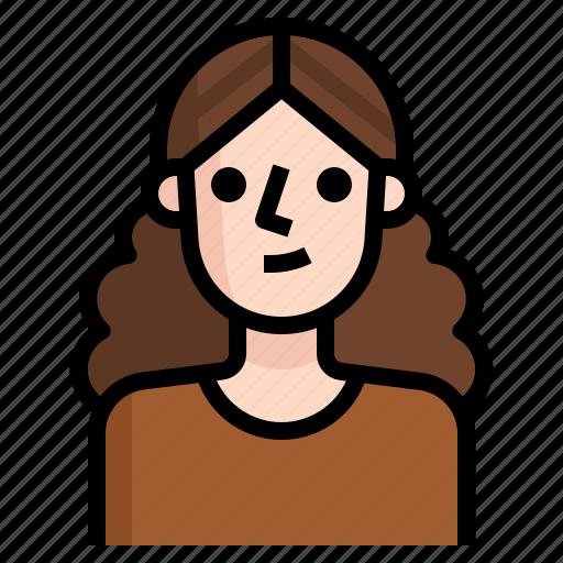 avatar, brown, curly, girl, hair, woman icon