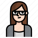 brown, woman, straight, long, avatar, girl, glasses