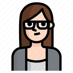 avatar, brown, girl, glasses, long, straight, woman icon