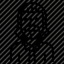 avatar, beard, man, old, white icon