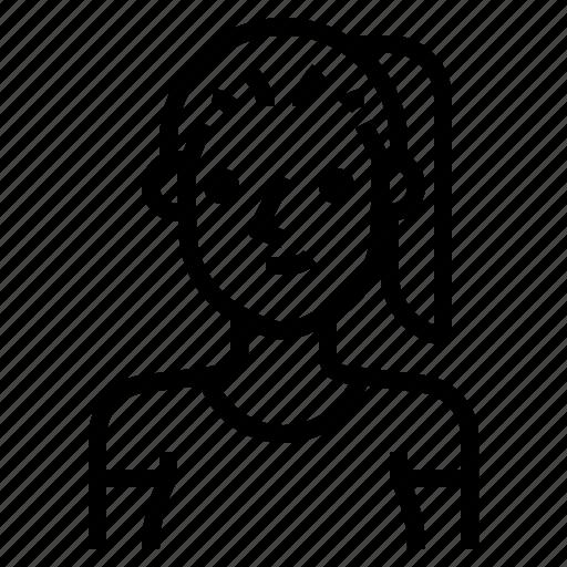 avatar, brown, girl, glasses, hair, woman icon