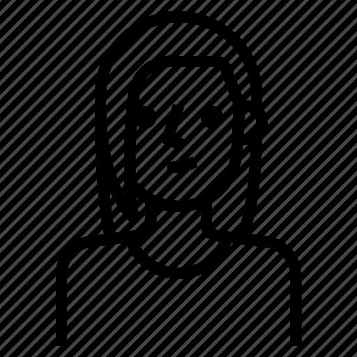 avatar, brown, girl, hair, long, straight, woman icon